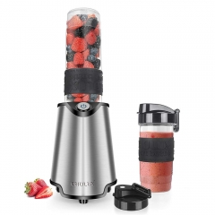 CHULUX Smoothie Blender with BPA-Free Travel Bottles (20+14 Oz),Electric Personal Blender Stainless Steel 4-Blade for Juice,Shakes and Baby Food,300W