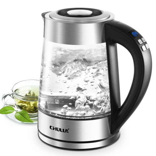CHULUX Electric Glass Kettle 1.7L Variable Temperature Control Hot Water Boiler with 7 Colors LED Indicator, Auto Shut-Off & Keep Warm Function,1200W